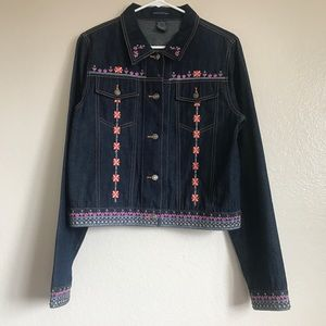 Anthropologie Beaded Embroidered Jean Jacket